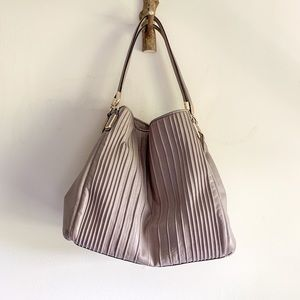 COACH pleated satchel tote oversized purse bag